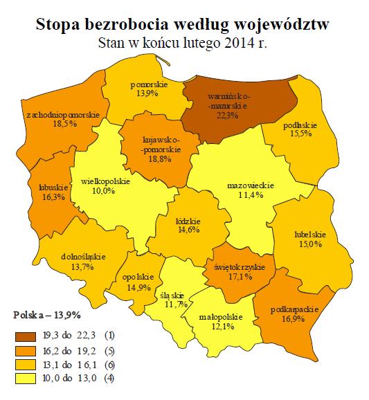 Miesięczna informacja o bezrobociu rejestrowanym w Polsce w lutym 2014 r.