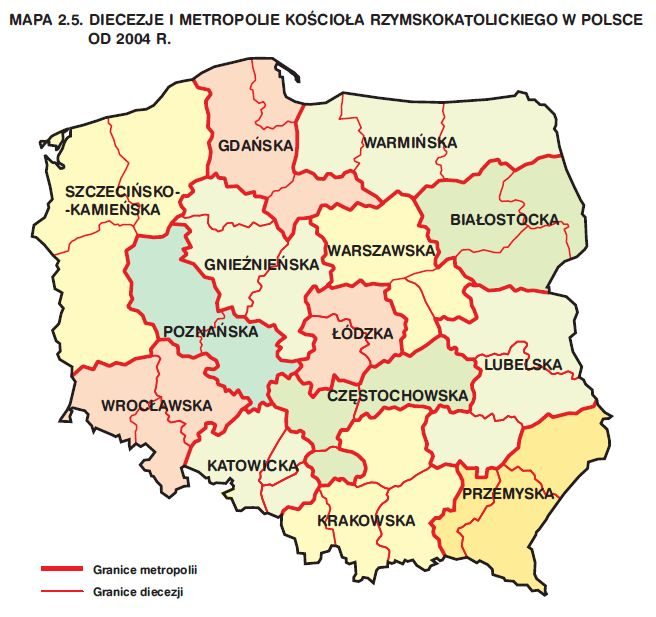 diecezje-metropolie-polska-mapa