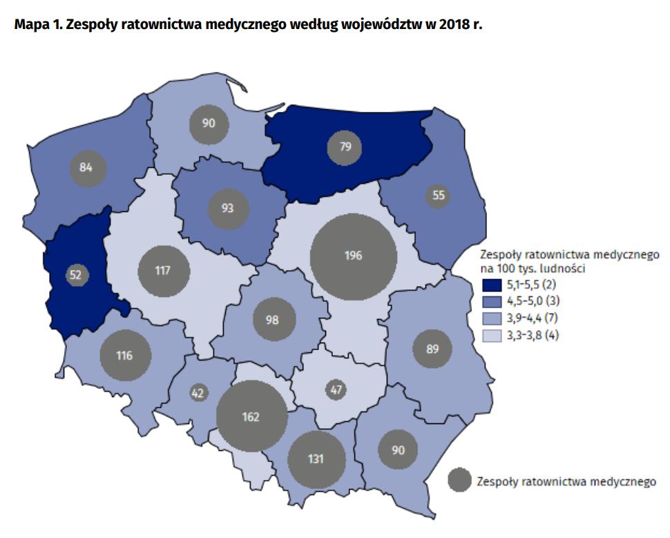 Zespoły ratownictwa medycznego według województw w 2018 r.