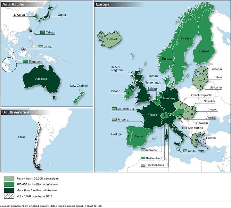 Państwa uczestniczące w Visa Waiver Program - mapa