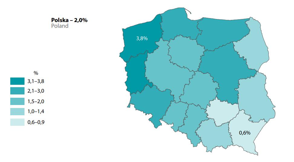 Osoby pozostające w związkach nieformalnych w 2011 r. (w % do liczby osób w wieku 15 lat  i więcej danego województwa)