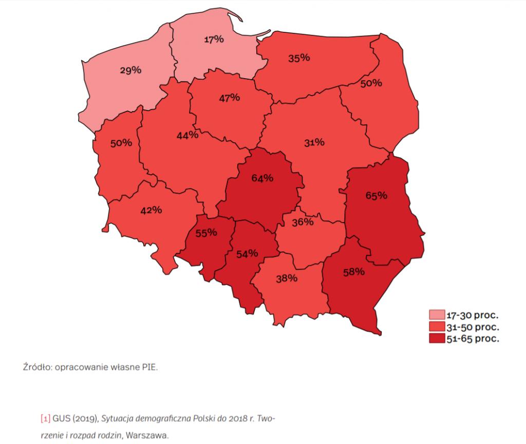 Udział miast, które oceniają się jako wyludniające się według województw (w proc.)