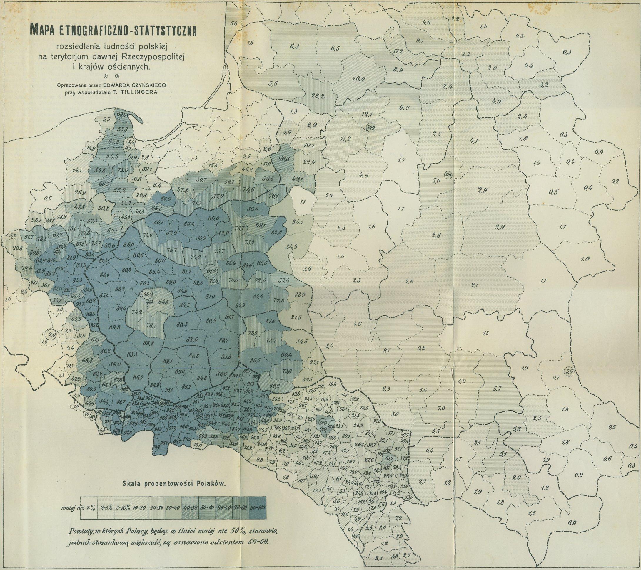 Mapa etnograficzno-statystyczna rozsiedlenia ludności polskiej na terytorium dawnej Rzeczypospolitej i krajów ościennych