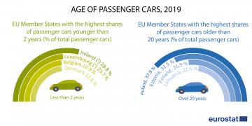 Wiek samochodów osobowych, 2019 r. (% wszystkich samochodów osobowych)